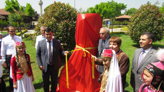 The Burana Tower model is opened to visitors after an official ceremony.